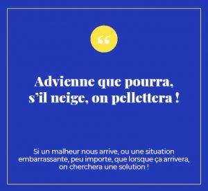 Illustration proverbe en Français Canadien. Eu Coordination agence de traduction de/vers le Français Canadien